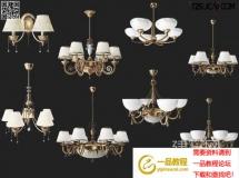 3D灯具模型  美式欧式铜质吊灯高品质 3D模型下载