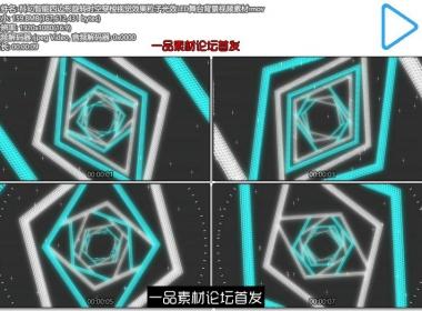 科幻智能四边形旋转时空穿梭视觉效果粒子光效LED舞台背景视频素