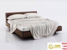 现代软体床模型套装模型 高品质模型