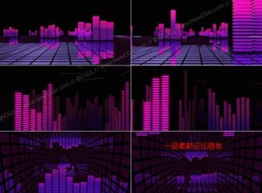 绚丽的紫色音频曲线均衡器动画循环素材,4枚入