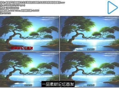 唯美梦幻海景树木生长海岸阳光映射水面动画背景视频素材