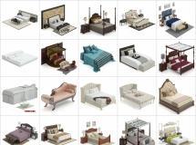 100个精品床具床铺模型-一品素材单体家具模型库下载
