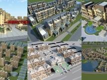 8套完整的建筑模型包含了贴图地形周边环境