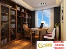 3D书房模型  书房3D模型效果图模型下载