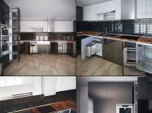 3D橱柜模型  开放厨房3D模型