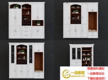 3D柜子模型  欧餐厅的酒柜 餐柜摆件组合3D模型高品质 3D模型下载