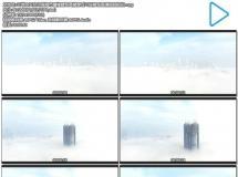云端上天空之城海市蜃楼建筑高楼穿过云层展现高清视频航拍