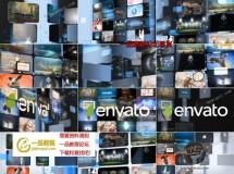 结合E3D插件创建的三维翻转视频墙标志开场AE模板,长短2版入