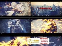 震撼粒子火花迸射的电影预告片AE模板
