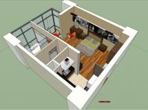 小户型别墅室内-38M草图大师su模型