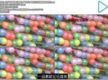 七彩气球飞镖比赛射穿气球儿童娱乐活动高清视频实拍