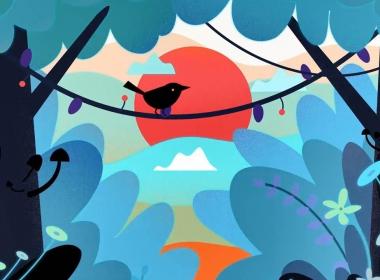 小鸟卡通插画场景MG动画AE教程 Motion Design School – Expressive Bird Animation