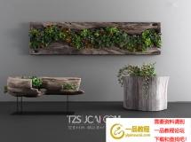 3D墙饰模型  现代朽木多肉盆栽墙饰3D模型下载