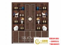3D酒柜模型   新中式实木酒柜酒水柜模型 下载