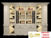 3D酒吧柜模型  欧式餐厅的实木酒柜3D模型高品质 3D模型下载