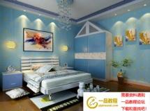 蓝色儿童房3D模型