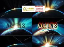 科幻风地球边缘光芒照射下的标志开场AE模板