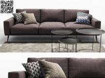 3D沙发模型  布艺沙发茶几组合3D模型