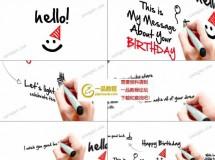萌趣的手写文字生日贺卡动画AE模板
