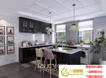 3D橱柜模型  北欧黑色厨房3D模型下载