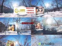 下雪的唯美冬日森林照片展示AE模板