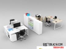3D办公模型  办公室桌椅组合3D模型下载