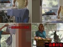 家庭主妇熨烫衣服的高清实拍视频素材1080P