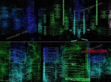 未来科技世界的数字/数码城市虚拟空间循环素材