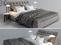 3D床铺模型  现代卧室豪华型双人床 双床高品质 3D模型下载