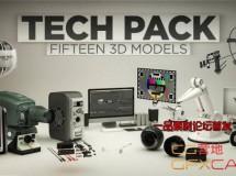 C4D/E3D模型:镜头耳机显示器电脑机器人高科技 The Pixel Lab – Technology Pack