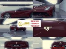 三维效果的红色跑车展览厅AE模板