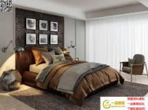 现代咖啡色双人床3Dmax模型漂亮的床模型 高品质模型下载
