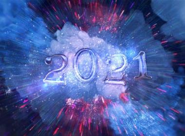 新年文字标题穿梭粒子背景片头 Happy New Year 2021