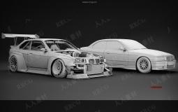 90组汽车轮胎轮毂悬架内饰等零件组件3D模型合集