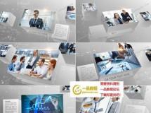 在干净白色组合立方体上进行的企业商务内容展示AE工程