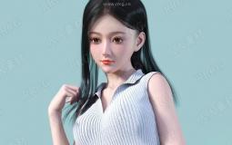 年轻美丽亚洲女孩角色3D模型合集