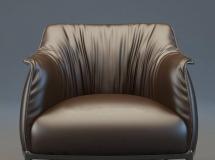 3D单沙发模型  现代皮革单人沙发3D模型下载