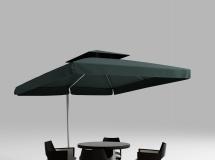 3D桌椅模型  现代实木户外餐桌椅遮阳伞组合3D模型