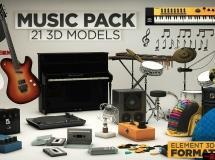 The Pixel Lab机构出品的音乐音响设备3D模型合辑