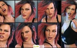 女性夸张搞怪性感表情拍照姿势3D模型合集