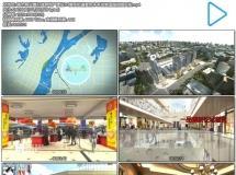 城市商业圈打造房地产建设3D模型街道景色未来发展蓝图视频实拍
