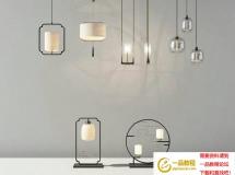 高品质新中式吊灯台灯组合3D 中式灯具3D模型