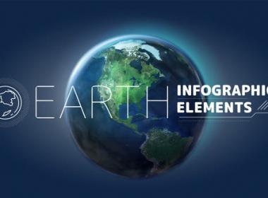 科技感三维地球指示线动画 Earth Infographic Elements