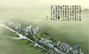 沿河现代小区建筑效果图