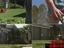 修剪草坪高清实拍视频素材1080P