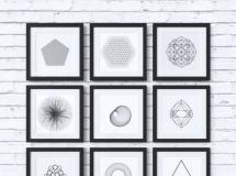 3D挂画模型  现代黑白几何无框画组合下载