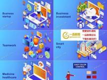 Isometric等距视角风格的企业商务主题概念场景设计AE模板