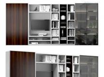 书房的柜架 书柜 置物架 电视背景墙模型 高品质模型
